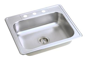 Elkay D12522-4 Dayton Single Bowl Topmount Kitchen Sink - Stainless Steel