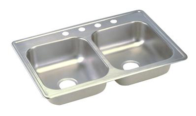 Elkay D233213 Dayton Double Bowl Topmount Kitchen Sink - Stainless Steel