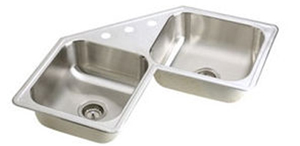 Elkay DE21732-3 Dayton Elite Double Bowl Corner Kitchen Sink - Stainless Steel