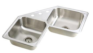 Elkay DE217324 Dayton Elite Double Bowl Corner Sink - Stainless Steel