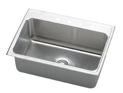 Elkay-DLR312210-Gourmet-Lustertone-Single-Bowl-Top-Mount-Kitchen-Sink---Stainless-Steel