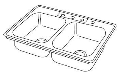 Elkay DSE233223 Dayton Elite Double Bowl Topmount Kitchen Sink With 3 Holes - Stainless Steel
