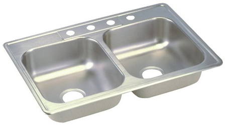 Elkay D233224 Dayton Double Bowl Kitchen Sink - Stainless Steel