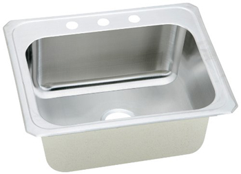 Elkay DCR252210-3 Celebrity Deep Single Bowl Kitchen Sink - Stainless Steel