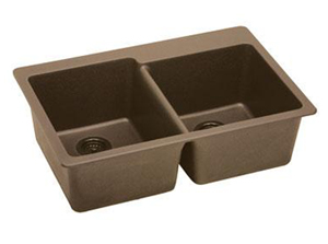 Elkay ELG250RGY0 Gourmet E-Granite Double Bowl Top Mount Kitchen Sink - Dusk Gray (Pictured in Mocha)