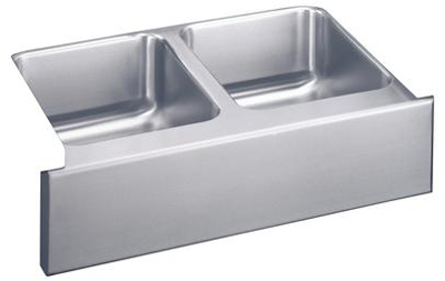 Elkay ELUHF332010 Gourmet Undermount Double Bowl Kitchen Sink with Apron - Stainless Steel