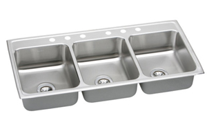 Elkay LTR4622-6 Gourmet Lustertone Triple Basin Kitchen Sink - Stainless Steel