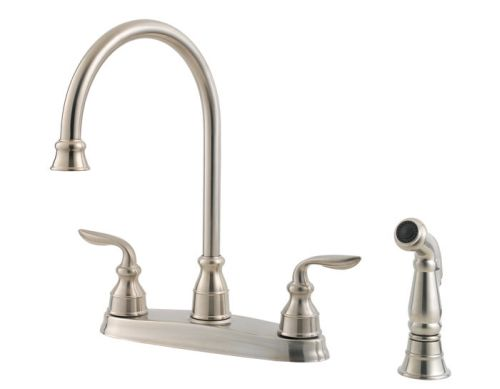 Price-Pfister-F-0364-CBS-Avalon-4-Hole-Double-Handle-Kitchen-Faucet---Stainless-Steel
