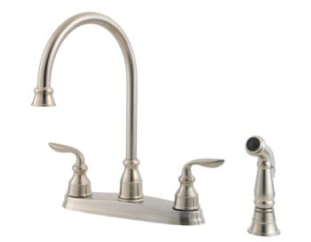 Price Pfister F-0364-CBS Avalon 4 Hole Double Handle Kitchen Faucet - Stainless Steel