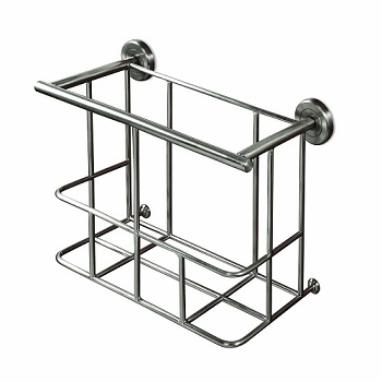 Gatco 1552 Latitude II Magazine Rack Satin Nickel