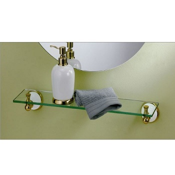 Gatco 5277 Franciscan Glass Shelf Polished Brass