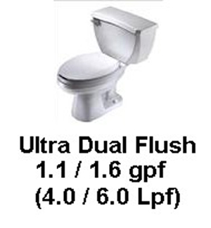 Gerber DF-21-312 Ultra Flush Pressure-Assist Dual-Flush Elongated 2 pc 1.1/1.6gpf