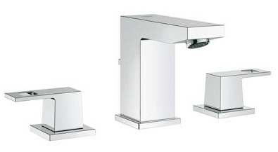 Grohe 20370000 EuroCube Modern Two Handle Widespread Lavatory Faucet - Starlight Chrome