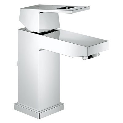 Grohe 23129000 Eurocube Modern Single Hole Lavatory Faucet with Drain Assembly - Starlight Chrome
