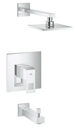 Grohe 35027000 EuroCube Single Handle Tub and Shower Trim - Starlight Chrome