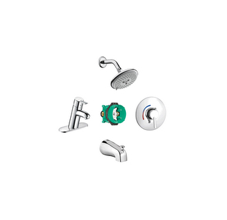Hansgrohe 04443000 Focus S Single Handle/Hole Lavatory Faucet with Raindance Multi-Function Tub/Shower Faucet Chrome