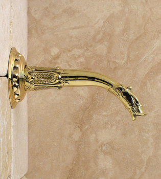 Herbeau HERB211853 Gargoyle Wall Mounted Spout - Old Silver (Pictured in Brass)