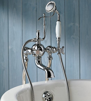 Herbeau 303060 Bath Couture Royale Exposed Deck Mounted Tub and Shower Mixer - Satin Nickel (Pictured in Polished Nickel)