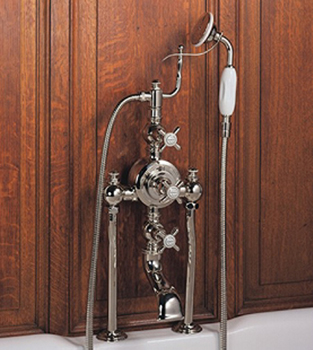 Herbeau 340560 Bath Couture Royale Exposed Deck Mounted Tub and Shower Thermostatic Mixer - Satin Nickel (Pictured in Polished Nickel)