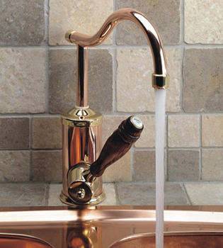 Herbeau 410560 Kitchen Couture Flamande Single Lever Mixer - Satin Nickel  (Pictured in Polished Copper Brass/Wood)