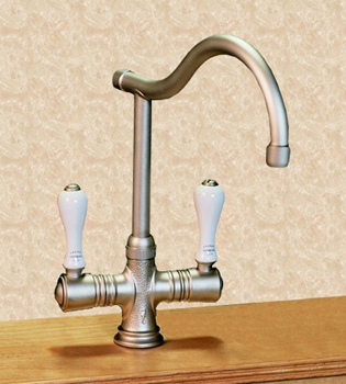 Herbeau 420255 Kitchen Couture Ostende Deck Mount Single Hole Mixer - Polished Brass (Pictured in Satin Nickel)