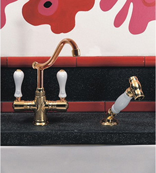 Herbeau 420960 Kitchen Couture Namur Mixer with Handspray - Satin Nickel (Pictured in Polished Copper Brass/Ceramic)