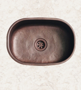 Herbeau 430160 Kitchen Couture Seine Oval Bowl Sink - Satin Nickel (Pictured in Weathered Hammerd Copper)