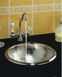 Beau Herbeau 430256 Kitchen Couture Moselle Round Bowl Sink   Polished Nickel  (Pictured In Hammered Polished