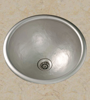 Herbeau 430260 Kitchen Couture Moselle Round Bowl Sink - Satin Nickel (Pictured in Hammered Satin Nickel)