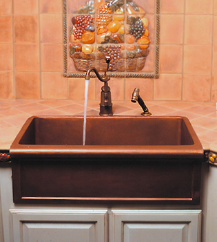 Herbeau 440659 Kitchen Couture Copper Farmhouse Sink - Weathered Copper