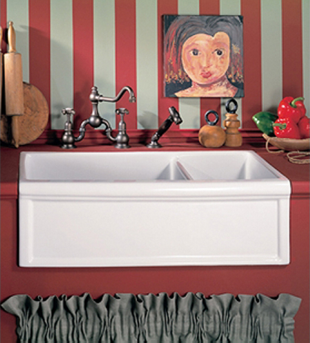 Herbeau 461330 Kitchen Couture Fireclay Double Farmhouse Sink - French Ivory (Pictured in White)
