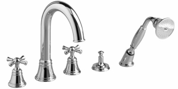 Jado 842/814/100 Hatteras High Spout Roman Tub Set w/ Handshower Lever Handle - Polished Chrome
