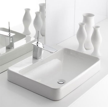 Kohler K-2660-1-0 Vox Rectangle Vessel with Faucet Deck - White