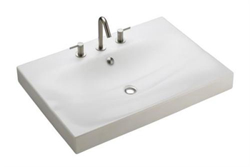 Kohler K-2953-8-96 Strela One-Piece Surface And Integrated Lavatory With Overflow - Biscuit (Faucet Not Included)