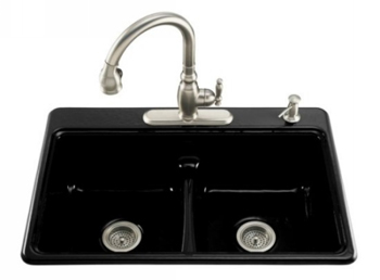 Kohler K-5838-4-7 Deerfield Self-Rimming Smart Divide Cast Iron Kitchen Sink 4 Hole Faucet Driling - Black