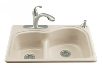 Kohler K-5839-2-47 Woodfield Self-Rimming Smart Divide Cast Iron Kitchen Sink - Almond