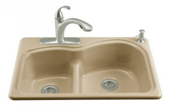 Kohler K-5839-4-33 Woodfield Self-Rimming Smart Divide Cast Iron Kitchen Sink 4 Hole Faucet Drilling - Mexican Sand