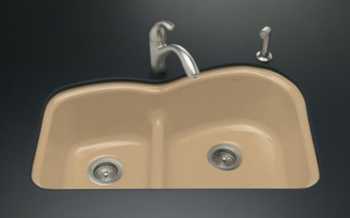Kohler K-5839-5U-33 Woodfield Undercounter Smart-Divide Cast Iron Kitchen Sink - Mexican Sand