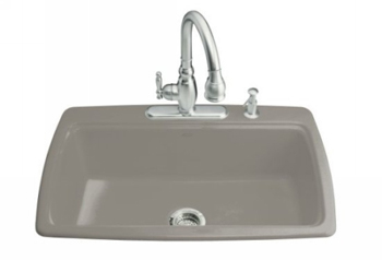 Kohler K 5863 4 K4 Cape Dory Self Rimming Kitchen Sink With 4 Hole Faucet  Drilling   Cashmere (Faucet And Accessories Not Included)