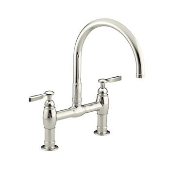 Kohler K-6130-4-SN Parq Deck-Mount Kitchen Bridge Faucet - Vibrant Polished Nickel