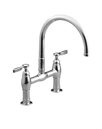 Kohler K-6130-4-CP Parq Deck-Mount Kitchen Bridge Faucet - Polished Chrome
