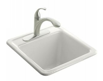Kohler K-6655-3-0 Park Falls Self Rimming Utility Sink - White (Faucet Not Included)