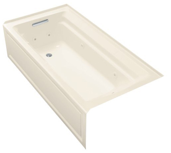 Kohler K-1109-HL-47 Portrait 5' Whirlpool With Integral Apron, In-Line Heater And Left Hand Drain - Almond