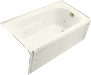 Kohler K-1109-HR-96 Portrait 5' Whirlpool With Integral Apron, In-Line Heater And Right Hand Drain - Biscuit