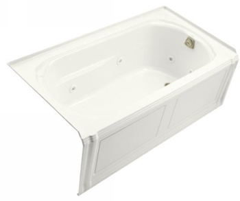 Kohler K-1109-HR-0 Portrait 5' Whirlpool With Integral Apron, In-Line Heater And Right Hand Drain - White