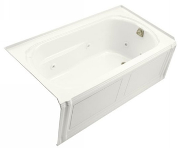 Kohler K-1109-RA-0 Portrait 5' Whirlpool With Integral Apron And Right Hand Drain - White