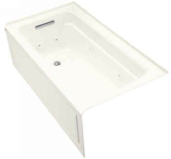 Kohler K-1122-HL-96  Archer 5' Whirlpool With Integral Apron In-Line Heater And Left Hand Drain - Biscuit