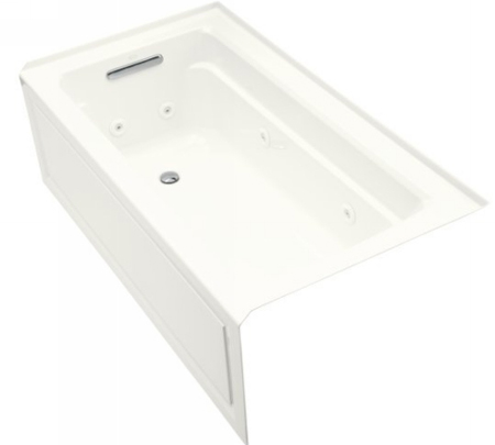 Kohler K-1122-HL-0 Archer 5' Whirlpool With Integral Apron In-Line Heate And Left Hand Drain - White