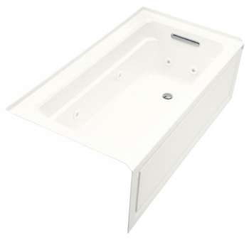 Kohler K-1122-HR-0  Archer 5' Whirlpool With Integral Apron In-Line Heater And Right Hand Drain - White