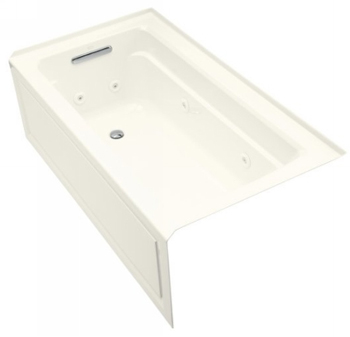 Kohler K-1122-LA-96 Archer 5' Whirlpool With Integral Apron and Left Hand Drain - Biscuit